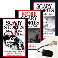 Scary Stories Pack: 3 Books Plus Creepy Skeleton-Hand Book Light