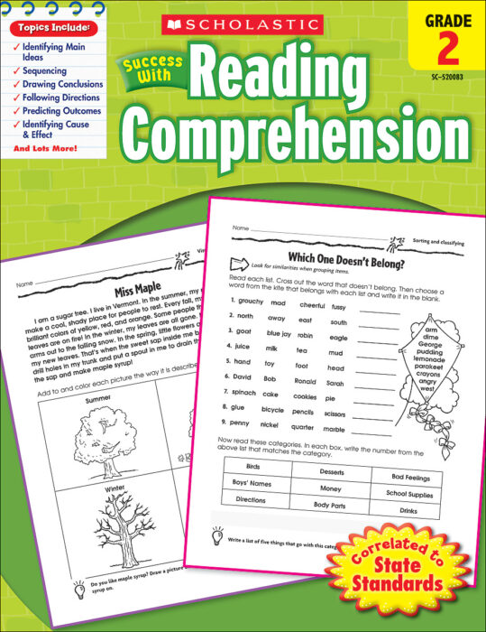 Scholastic Success With Reading Comprehension: Grade 2 By Scholastic -  Activity Book - The Parent Store