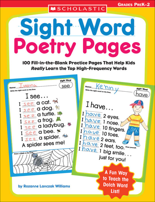 Sight Word Poetry Pages