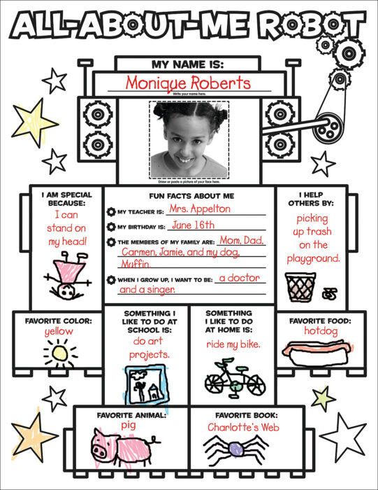 Graphic Organizer Posters: All-About-Me Robot: Grades K-2