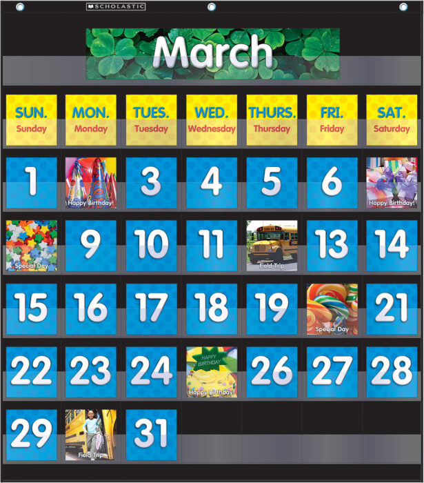 Pocket Chart Monthly Calendar (Black)