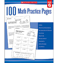 100 Math Practice Pages: Grade 6