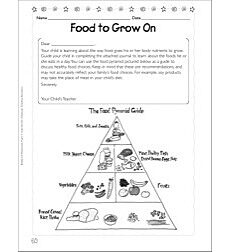 Food to Grow On (Nutrition): Science Homework Page