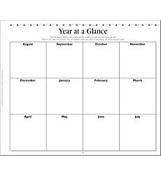 Year at a Glance Chart: Teacher Planning Page