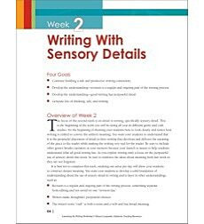 Launching the Writing Workshop: Writing With Sensory Details