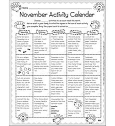 Monthly Ideas: November - Activity Calendar & Stationery