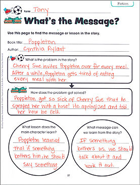 What's the Message? Reading Response Bookmark & Graphic Organizer