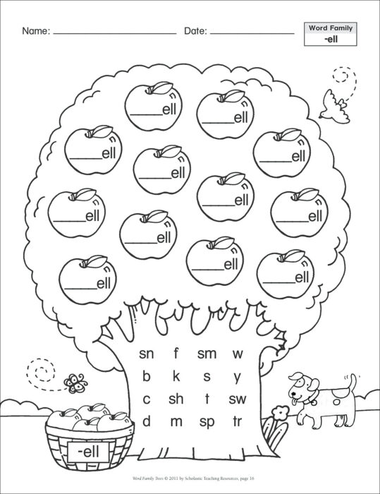 Short Vowel (-ell): Word Family Tree