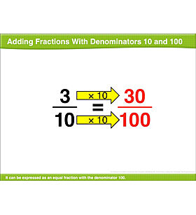 Adding Two Fractions With Denominators 10 and 100: Math Lesson