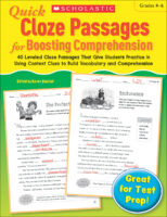 Quick Cloze Passages for Boosting Comprehension (Grades 4-6)