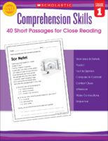 Comprehension Skills: 40 Short Passages for Close Reading: Grade 1